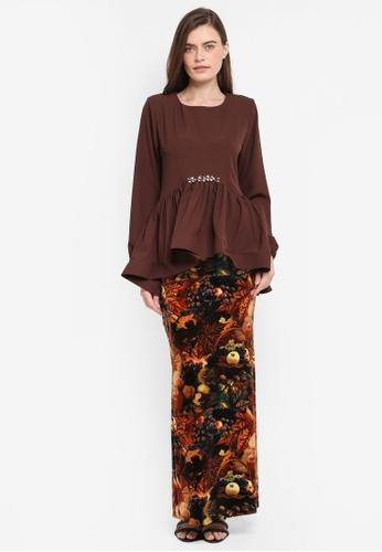 Zuco Fashion brown Midi Peplum High-Low Kurung ZU882AA0SXVJMY_1