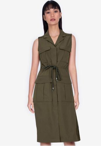ZALORA BASICS green Sleeveless Utility Dress BD38FAAB172727GS_1