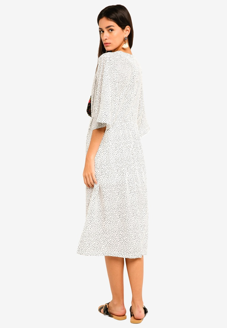 And Beyond Midi Dress Dot White GHOSPELL Black The BYqYzw8x