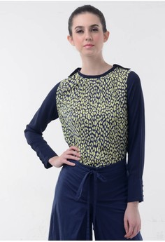 harga Leopard print combination blouse Zalora.co.id