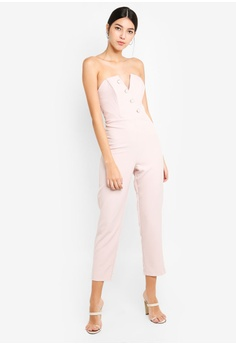 d721e46b5baf Miss Selfridge pink Bandeau Pearl Jumpsuit Nude D088CAA730E668GS 1