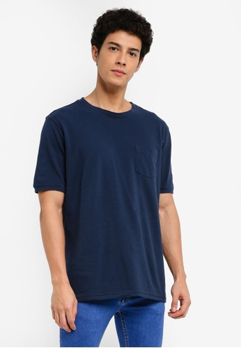 MANGO Man blue Essential Cotton-Blend T-Shirt 6EAD7AAD4E37BAGS_1