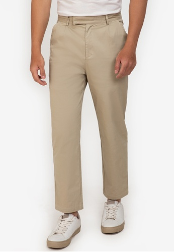 ZALORA BASICS beige Extended Band Trousers DABADAAFC7E9F0GS_1