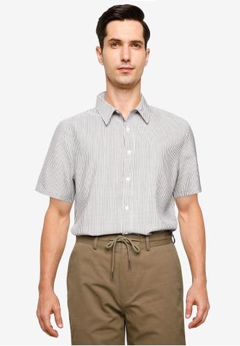 ZALORA BASICS multi Seersucker Short Sleeve Collar Shirt 0868AAA12AE7B7GS_1
