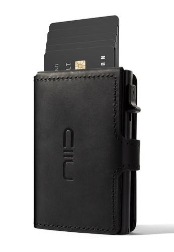 NIID black NIID RFID Security Slide Mini Leather Wallet Black B5326AC7061D73GS_1
