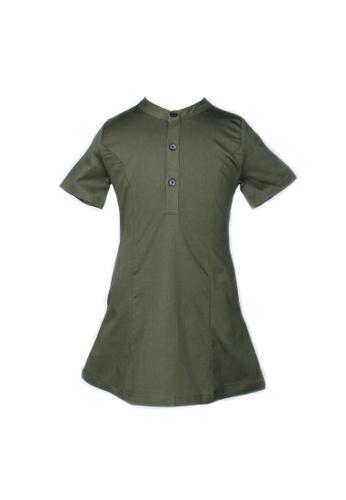 Mini Moley green Brushed Cotton Half-Button Down Dress ED966KAA90A196GS_1