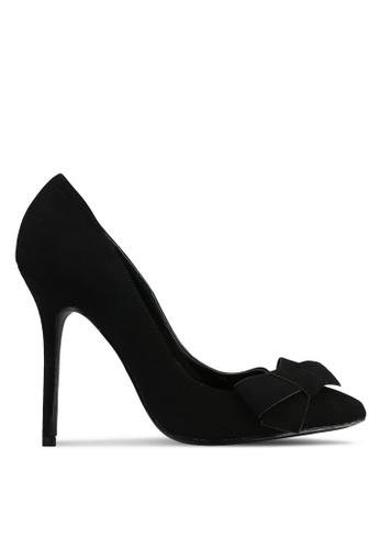 Velvet black Suede Bow Pumps 201C6SH88ACA86GS_1