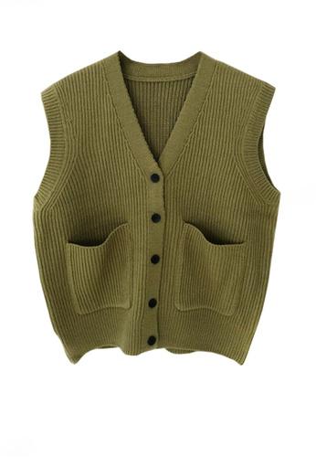 Twenty Eight Shoes green VANSA Knitted Vest Jacket  VCW-V15856258 7D3FEAA19BF7DEGS_1