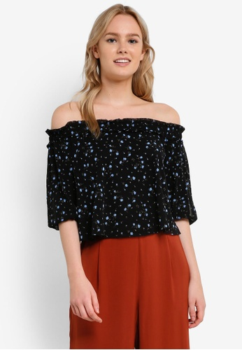 Miss Selfridge black Printed Mesh Bardot Top MI665AA0RI2FMY_1