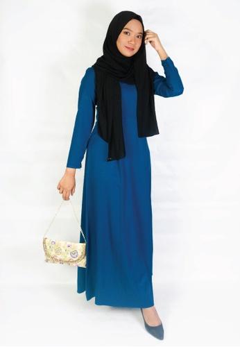 Zaryluq blue Pleated Dress in Blue Latte A057BAAE7B7A2DGS_1