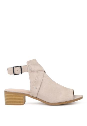 London Rag beige Sissy Peep Toe Ankle Strap Sandals CB324SH83F5692GS_1
