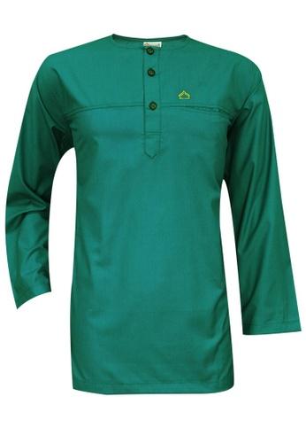 SULTAN green SULTAN KURTA - PRESIDENT - ROUND NECK FULL SLEEVES 90D9CAA7306546GS_1