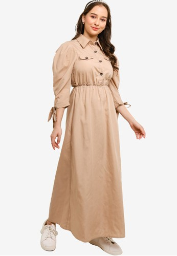 Lubna brown Leisure Buttoned Dress 49C5BAACDD67BDGS_1