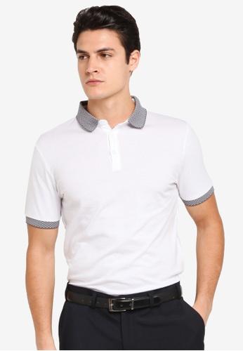Burton Menswear London white White Jacquard Collar Polo Shirt BU964AA0T1HXMY_1