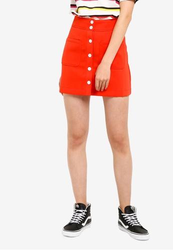 Something Borrowed 橘色 鈕釦短裙 A4E5AAA02A5DA9GS_1