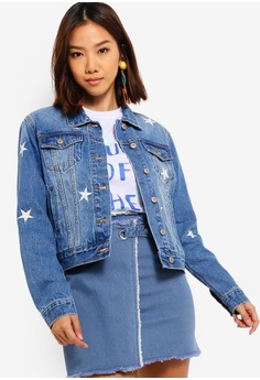 5c6f872696045 Something Borrowed blue Embroidered Washed Denim Jacket 9F7DCAA82A1B80GS_1