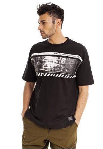 RYZ 黑色 RYZ 男子短袖T恤 时尚潮流 复古黑白城市印花 短袖衫男装 黑 E11C6AAF3EF339GS_1