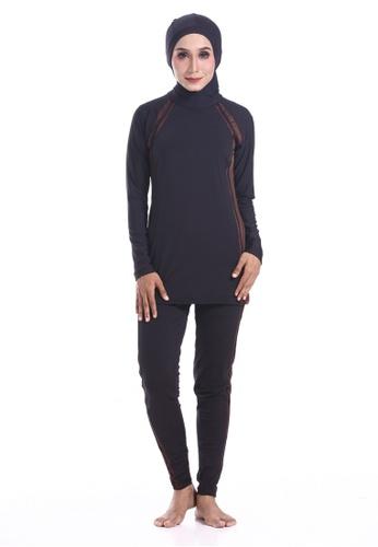 BIDADARI black and brown Fullcover Swimsuit BI449US0RO5TMY_1