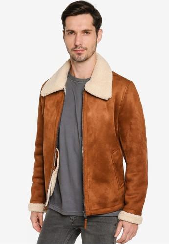 MANGO Man brown Faux Shearling-Lined Jacket 7E551AA2BB4BAAGS_1