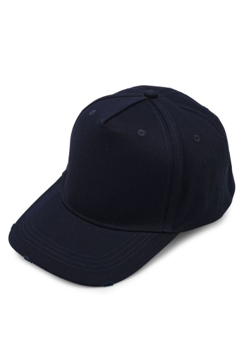 River Island navy Nibbled Baseball Cap 6113EACBB8D627GS_1