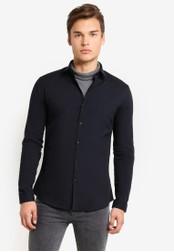 Topman black Long Sleeve Black Stretch Shirt TO413AA27UNSMY_1