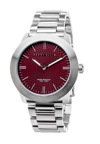 PERRY ELLIS silver Perry Ellis Slim Line Unisex 42mm Quartz Stainless Steel Watch 07004-02 45375AC71463DDGS_1