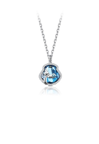 Glamorousky blue Fashion Dolphin Tail Pendant with Blue Austrian Element Crystal and Necklace 3F7E8ACE8D6689GS_1