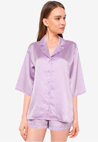 Public Desire purple Satin Pyjama Shirt Co-ord EDA5FAAC4E4BC8GS_1