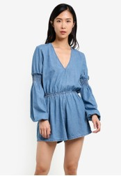 The Fifth Label blue Sentiment Long Sleeve Playsuit TH664AA0S3PKMY_1