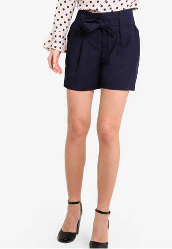 Dorothy Perkins navy Navy Topstitch Tie Shorts DO816AA35VLOMY_1