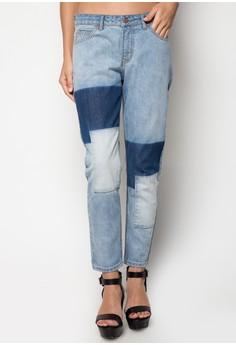 Boyfriend Jeans with Contrast Wash Detail