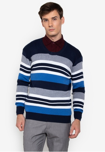 ee5642db4 Shop Mick + Marty Vneck Stripe Pullover Sweater Online on ZALORA ...