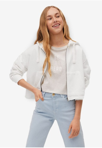 MANGO KIDS white Hoodie Cotton Sweatshirt D65C5KA958A1F5GS_1
