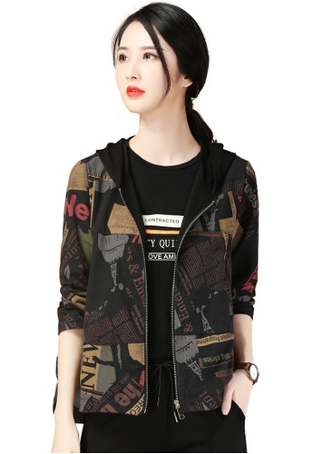 A-IN GIRLS black and multi Vintage Print Hooded Jacket 4FB92AA4E8674DGS_1