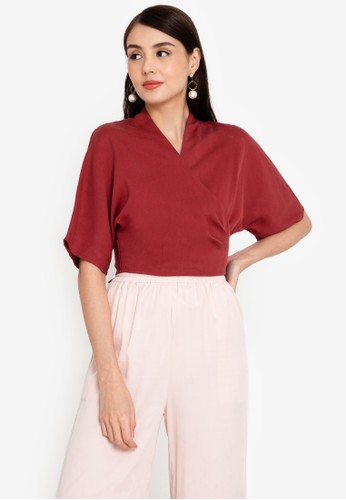 Origin by Zalora red Wrap Top made from TENCEL™ 5A1AFAAB690A37GS_1
