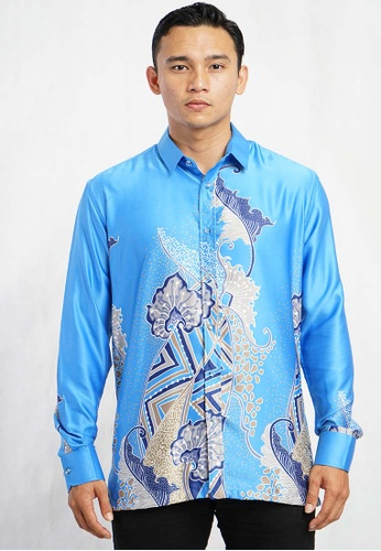 UA BOUTIQUE blue Long Sleeve Shirt Batik UABM09-041 (Blue) 64315AA9D97F74GS_1