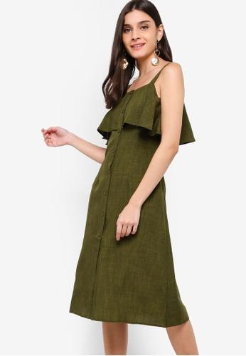 ZALORA green Button Down Ruffles Dress C2976AADB92F9CGS_1