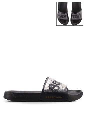 Superdry 黑色 透明繞帶LOGO印花拖鞋 8234FSHFE6DFF4GS_1