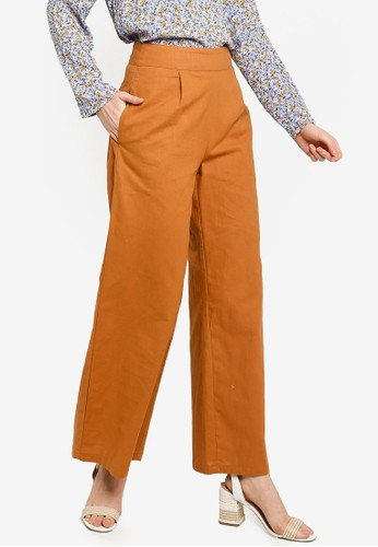 Lubna brown Cotton Linen Pants FB84FAA94136DDGS_1
