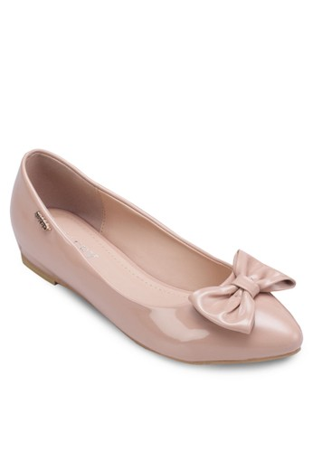 蝴蝶結漆皮平底esprit taiwan鞋, 女鞋, 鞋