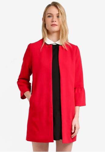 ZALORA red Frilled Cuff Coat 56048ZZ977247EGS_1