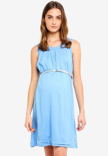 Spring Maternity blue Maternity Sleeveless Adela Live Pleats Dress 364AEAA67BFC54GS_1