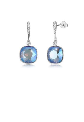 Glamorousky blue 925 Sterling Silver Elegant Fashion Simple Sparkling Multicolor Blue  Austrian Element Crystal Earrings F9A36AC83FDF82GS_1