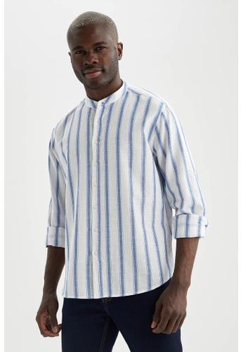 DeFacto blue Long Sleeve Cotton Shirt 56A93AAC4C8DBDGS_1