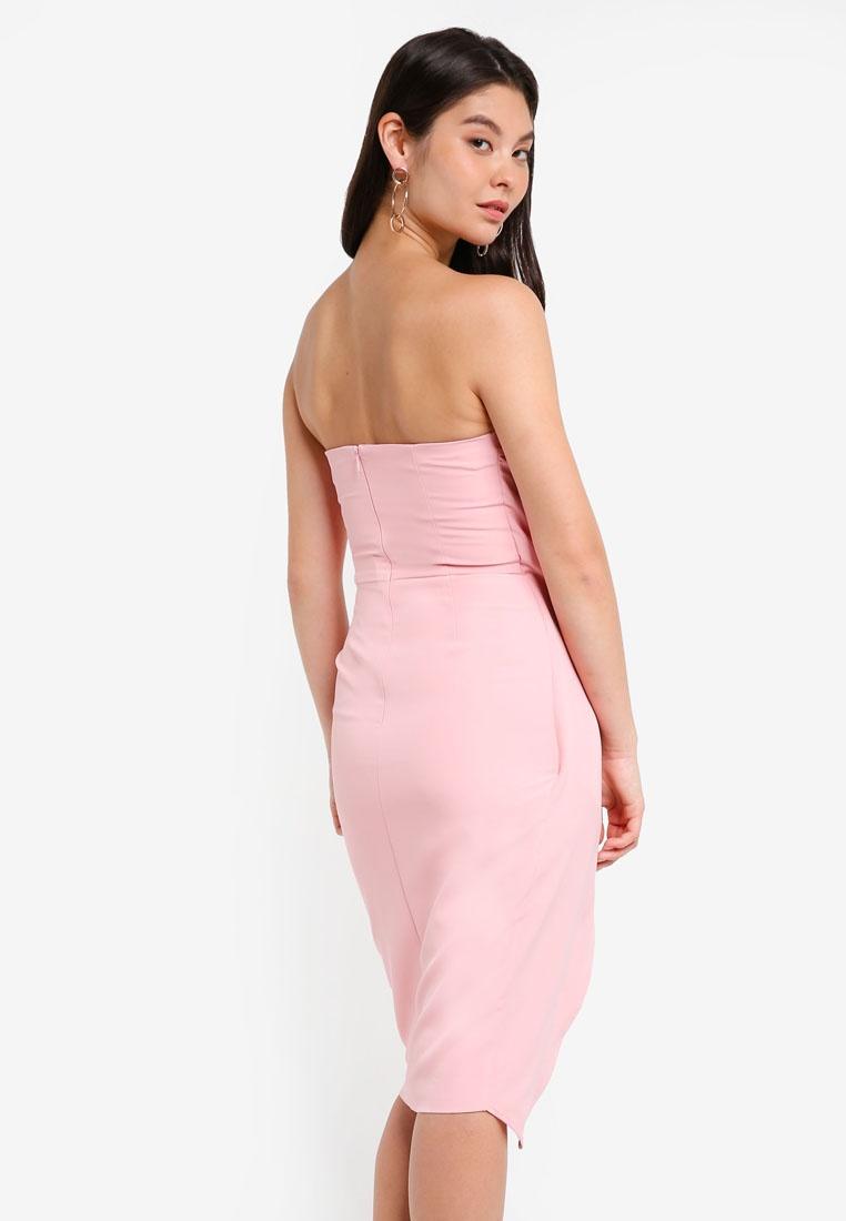 Pink Alice Over Wrap Bandeau Midi Lavish Dress Zxqa0FvwY