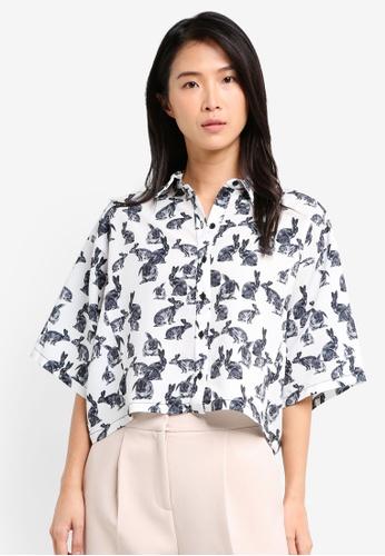 TOPSHOP white Bunny Print Short Sleeve Shirt TO412AA0SZ5NMY_1