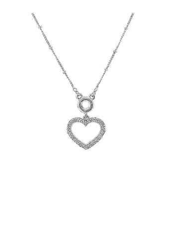 Glamorousky silver Glistering Heart Necklace with Sliver Austrian Element Crystal B97D5ACE77C53FGS_1