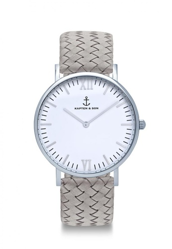 """Kapten & Son grey Campina Silver """"Grey Woven Leather"""" 9D815AC895313BGS_1"""
