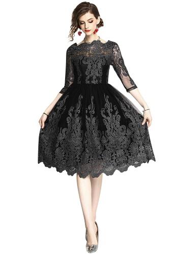 Sunnydaysweety black New Black Midi Sleeves One Piece Dress CA071859-0 CE369AA67239C6GS_1