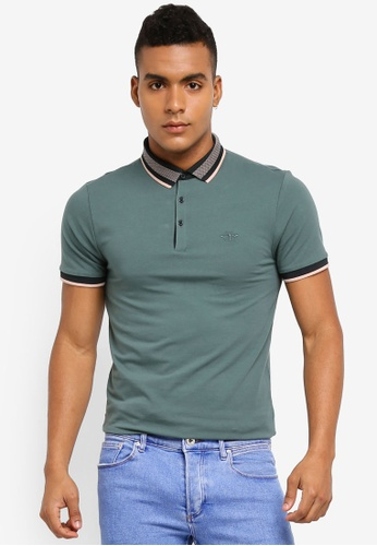 River Island green Muscle Fit Tipped Polo Shirt 94632AA629063FGS_1